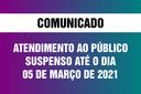 Câmara suspende o atendimento presencial ao público até o dia 05 de março de 2021