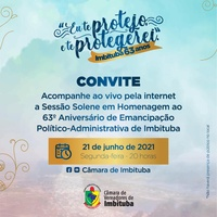 Câmara de Vereadores convida toda a população para Sessão Solene Virtual alusiva ao 63º aniversário de Emancipação político-administrativa do município