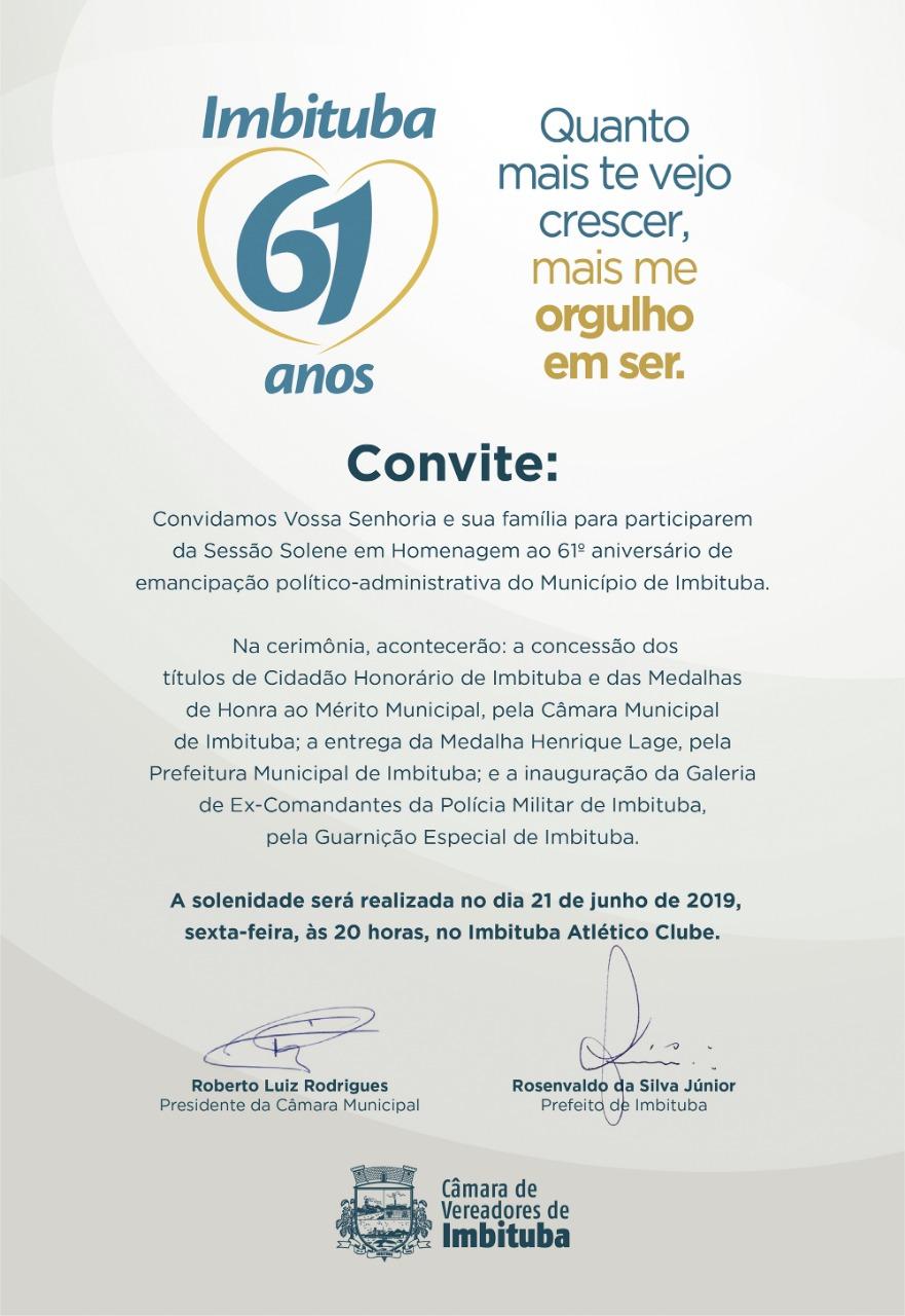 Convite: Sessão Solene em Homenagem ao 61º aniversário de emancipação político-administrativa do Município de Imbituba