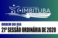 Ordem do Dia da 21ª Sessão Ordinária de 2020