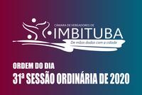 Ordem do Dia da 31ª Sessão Ordinária de 2020